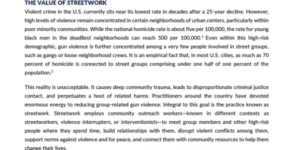 Considering the Place of Streetwork in Violence Interventions